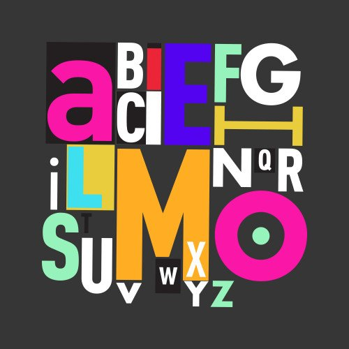 Mehrfarbige Buchstabengrafik