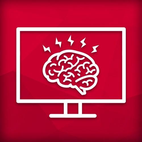 Logo eines Gehirns innerhalb eines Bildschirms