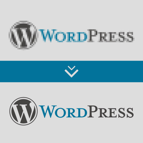 Wordpress Logo unscharf  & scharf