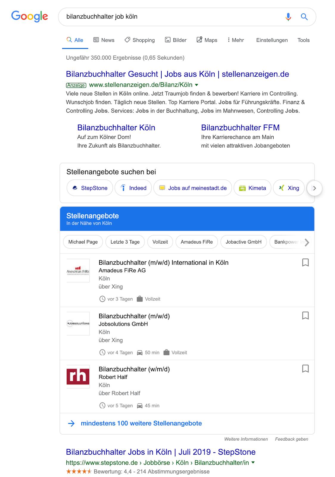 google-jobs-suche