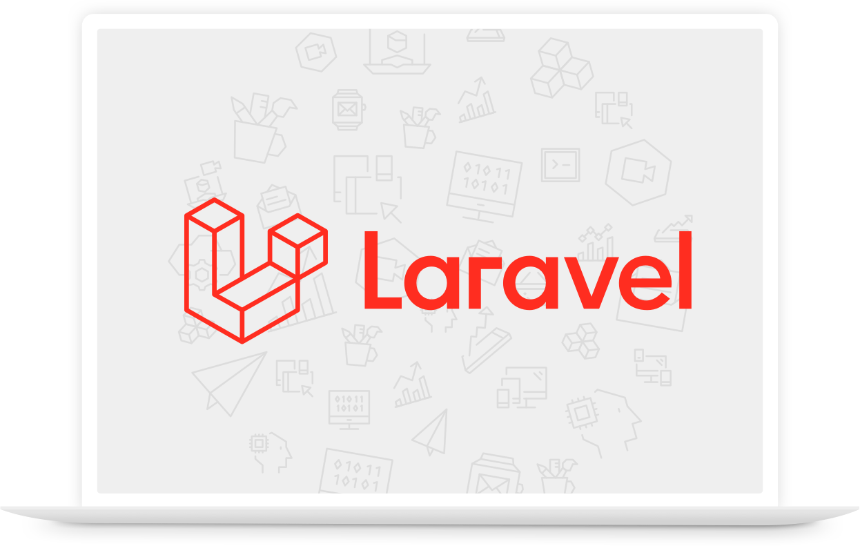 Macbook mit Laravel Logo